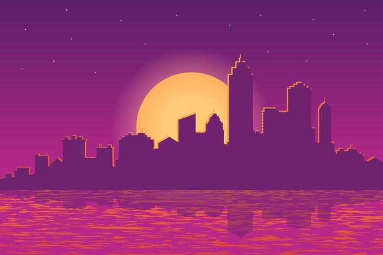 illustration of cityscape at sunset