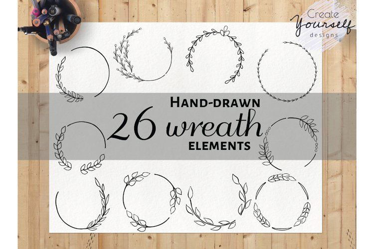 Hand drawn wreath clipart set - doodle wreath clip art example image 1