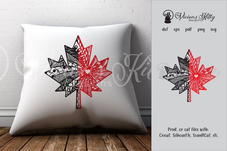 Maple leaf zentangle, Canadian, Canada flag, Canada Day example image 1