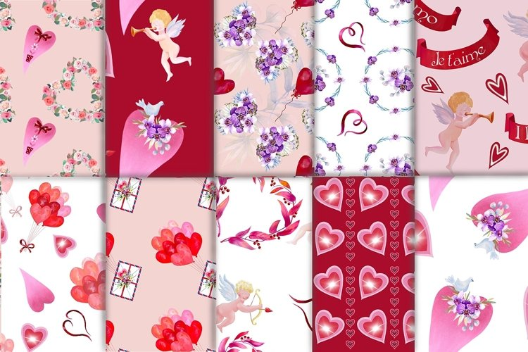 Valentine's day digital paper.Seamless pattern. example image 1