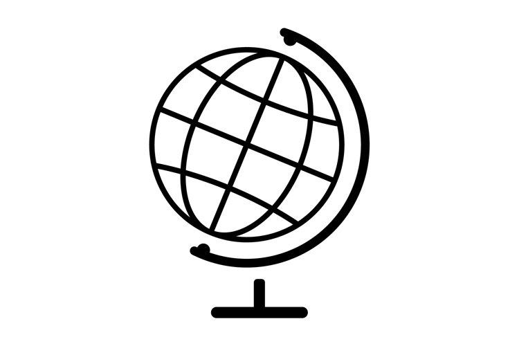 Transparent globe icon. Black earth map. Planet symbol