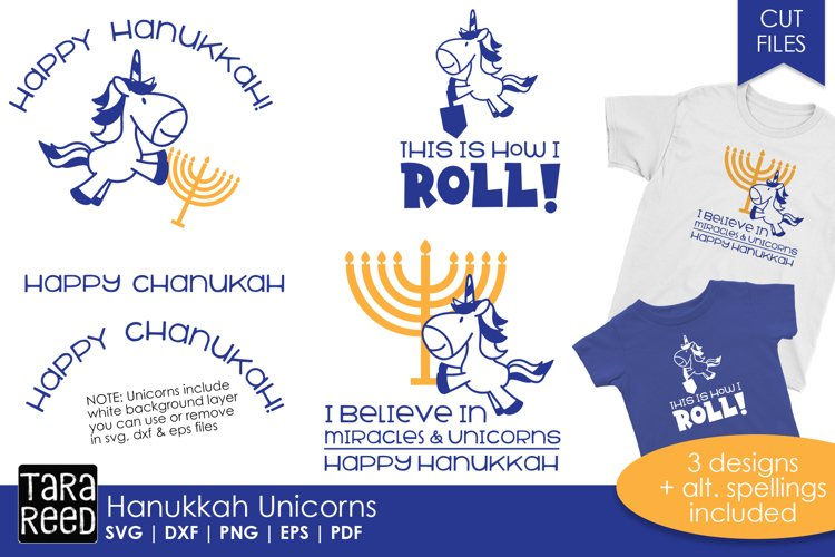 Hanukkah Unicorns - Chanukah SVG and Cut Files for Crafters