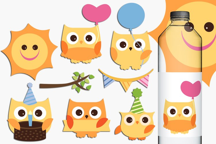 Birthday owls illustrations and graphics example image 1