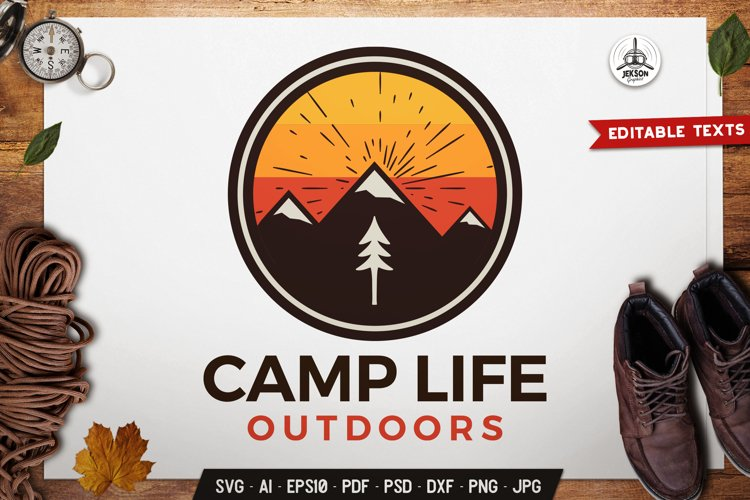 Camping Life Logo Template SVG Outdoor Adventure DXF PNG example image 1