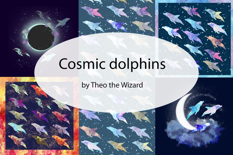 20 Hand drawn watercolor cosmic dolphins illustrations.