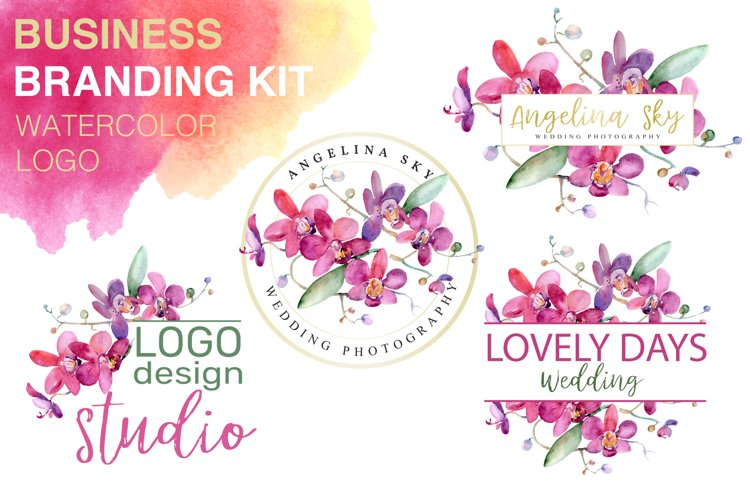 LOGO with pink orchids Watercolor png