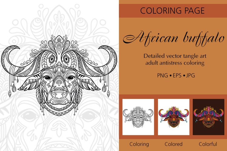 Coloring for adult tangled head of African buffalo