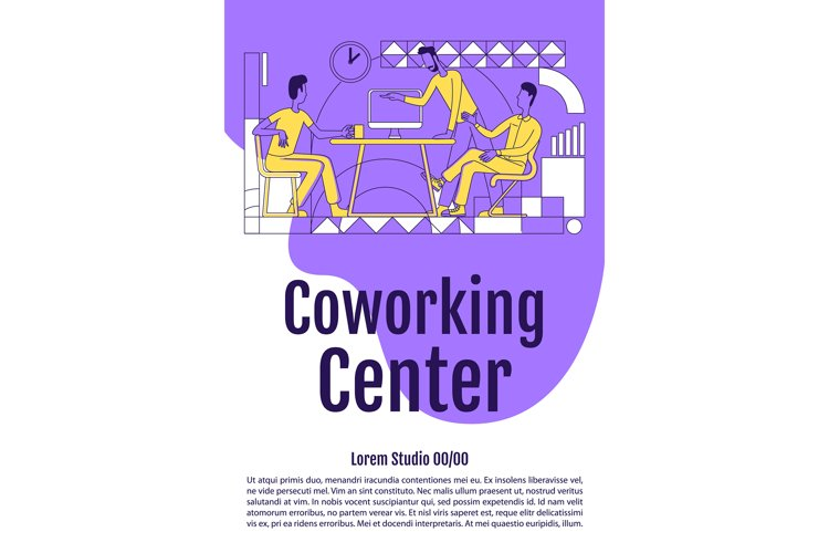 Coworking poster flat silhouette vector template example image 1