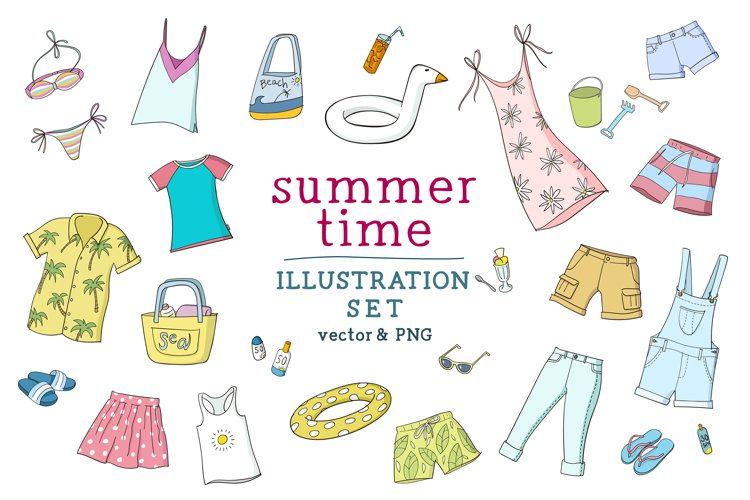 Summertime illustration set