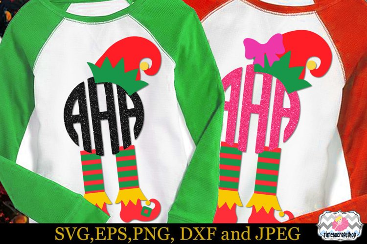 Christmas Elf Hat and Legs, Elf's Boots Monogram example image 1