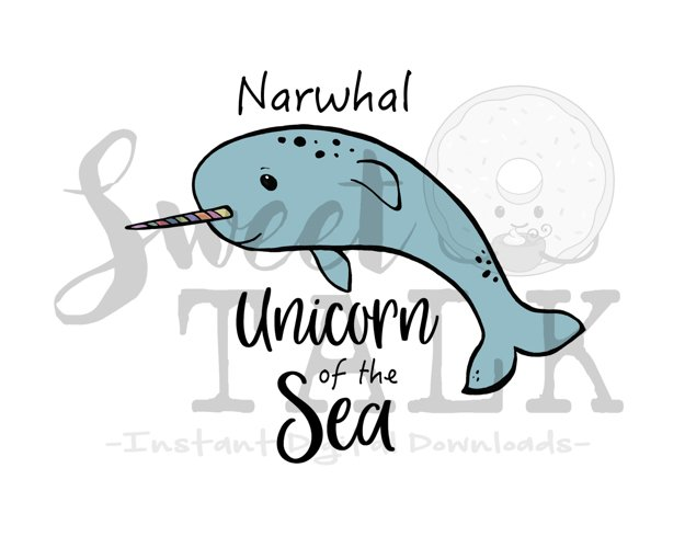 Narwhal Unicorn of the Sea -svg,dxf,png,jpg, Instant Digital Download example image 1