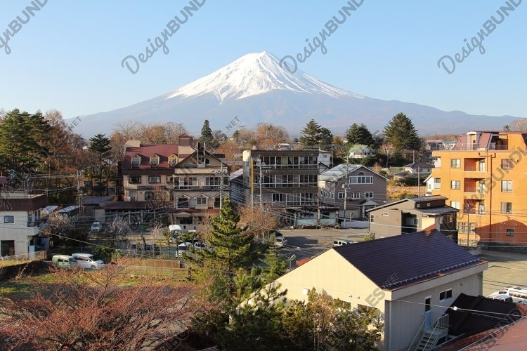 Mountain Fuji among the residential community example image 1