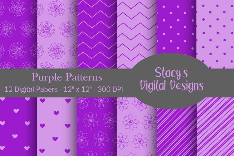 Purple Patterns - 12 Digital Papers