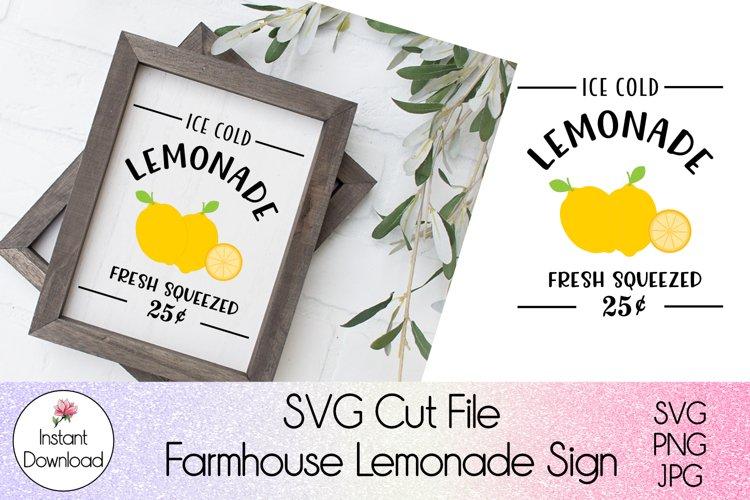 Farmhouse Lemonade Sign SVG l Ice Cold Lemonade Cutfile example image 1