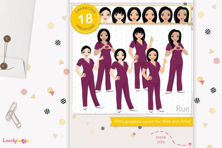 Asian nurse clipart, healthcare worker avatar, LVX16 Rue