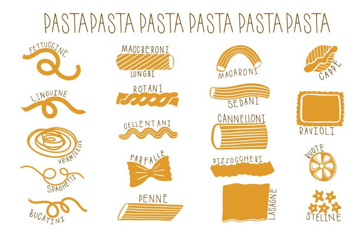 Pasta type set hand drawn