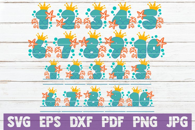 Mermaid Birthday Numbers Bundle | SVG Cut Files example image 1