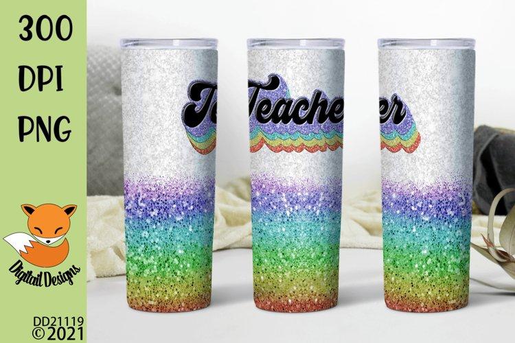 Glitter Effect Retro Teacher Skinny Tumbler Sub example image 1