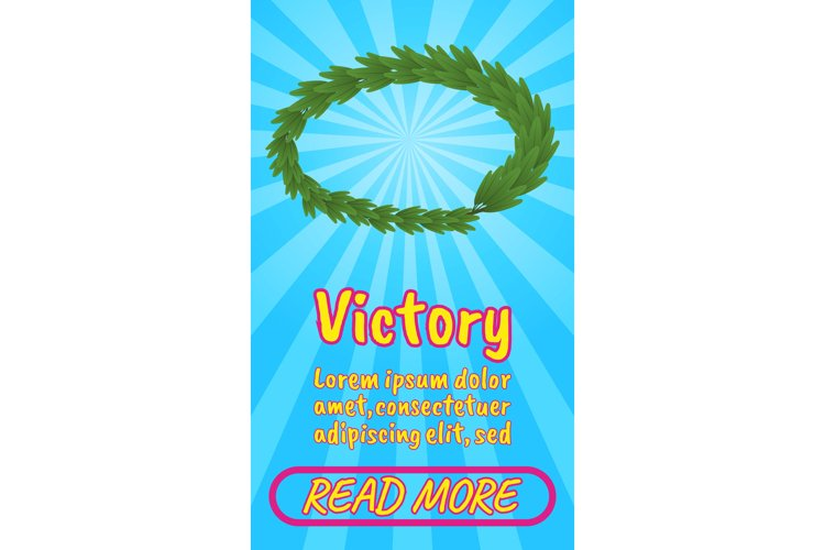 Victory concept banner, comics isometric style example image 1