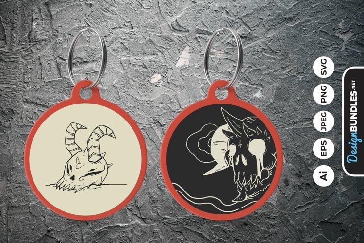 Satanic Devil Skull Keychain example image 1