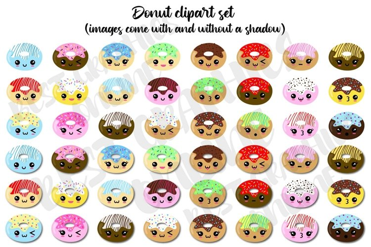 Donut clipart, Donut Printable planner stickers clipart set
