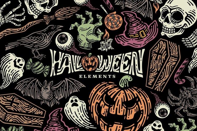 Halloween Elements. Bonus Pattern Seamless example image 1