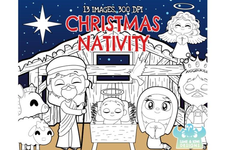 Christmas Nativity Digital Stamps - Lime and Kiwi Designs