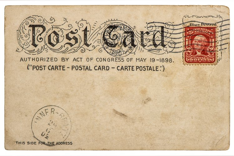 Vintage american postcard background post stamp Used paper example image 1