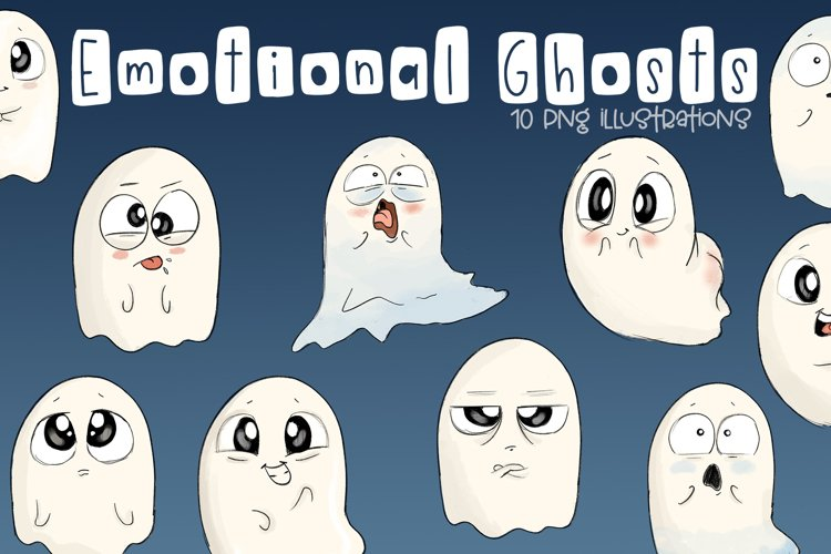Emotional Ghosts | Halloween Clipart | PNG example image 1