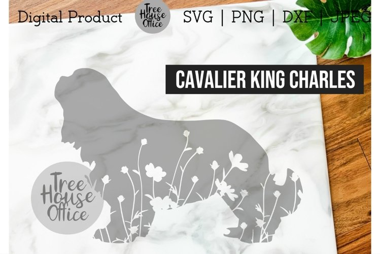 Cavalier King Charles Spaniel SVG, Dog with Flowers SVG PNG