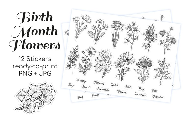 Birth Month Flowers Stickers for Planner and Scrapbooking