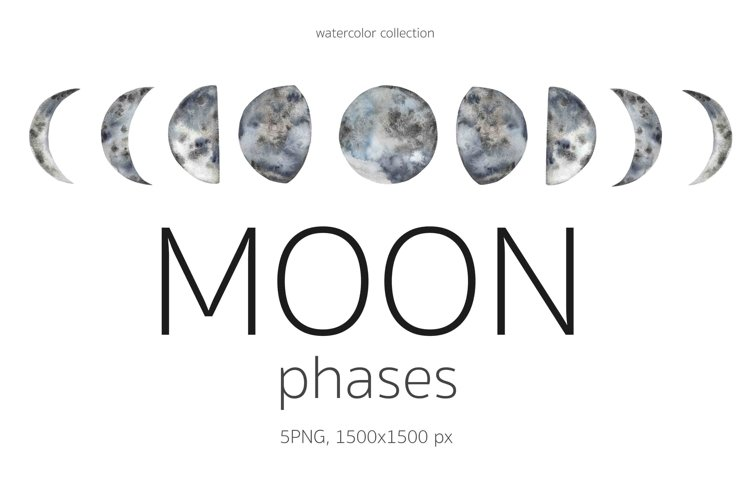 Watercolor Moon Phases Clipart.