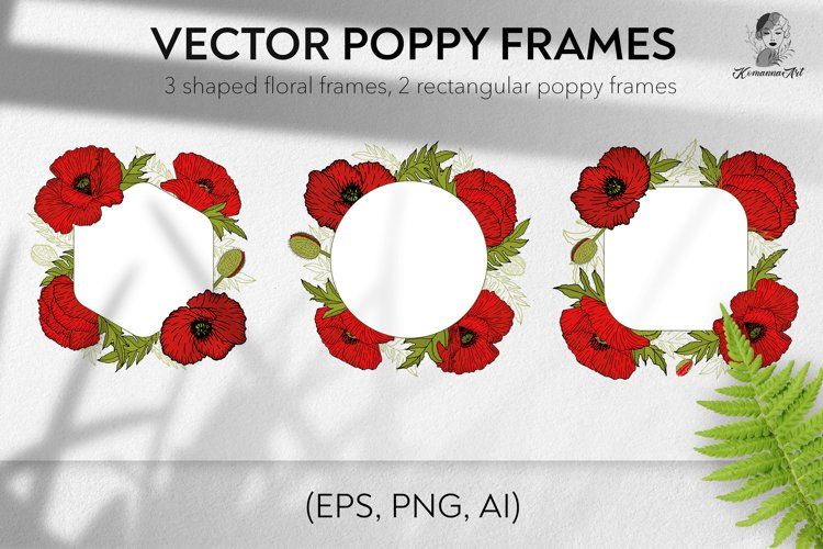 Poppies flowers vector shaped frames example image 1