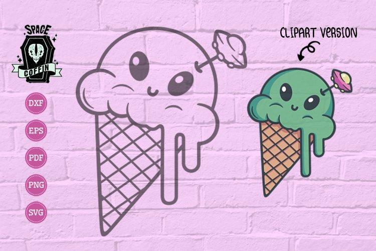 Alien Icecream Silhouette SVG & color Clip Art