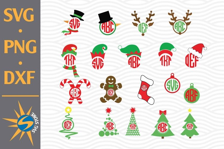 Christmas Monogram SVG, PNG, DXF Digital Files Include example image 1