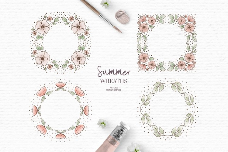 Summer floral wreath clipart | Flower border clipart in pink