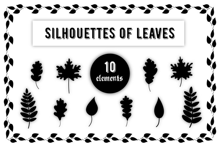 Leaves svg, Leaves silhouette, leaves vector, Cut Files example image 1