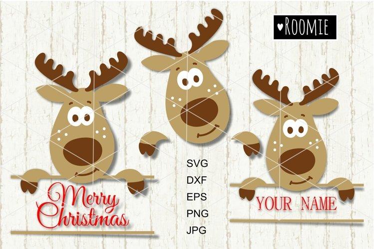Reindeer SVG, Christmas monogram New year Winter vector
