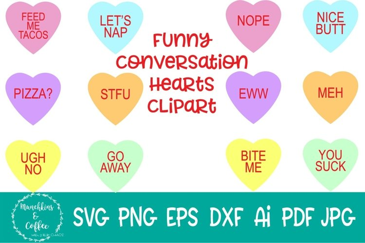 Funny Converstation Hearts Clipart example image 1