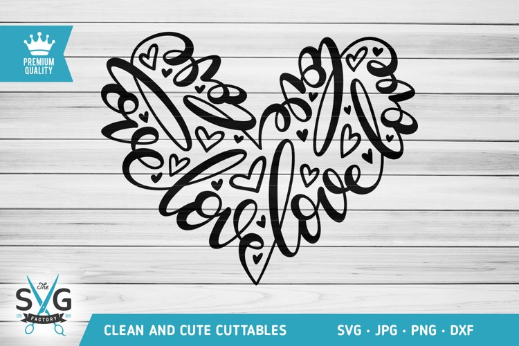 Love Word Heart SVG cutting file example image 1