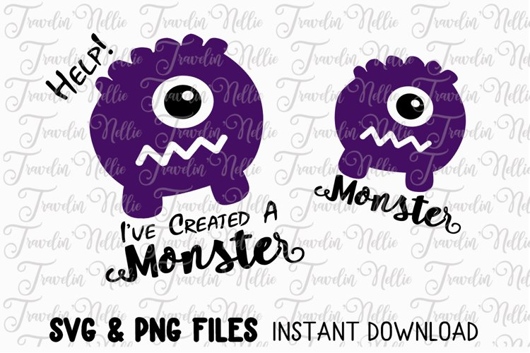 Monster Mommy and Me SVG Cut File Cricut Silhouette Mummy example image 1