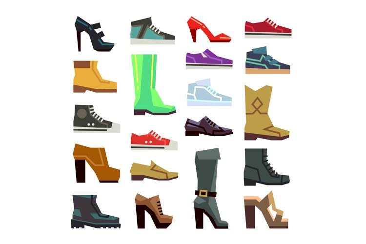 Different footwear casual shoes vector set example image 1