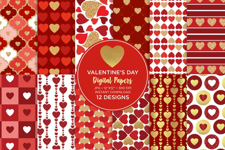 Valentines Day Digital Paper, Hearts Digital Paper example image 1