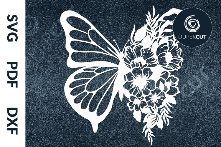 SVG / PDF / DXF Morphing Butterfly, Papercutting Template example image 1