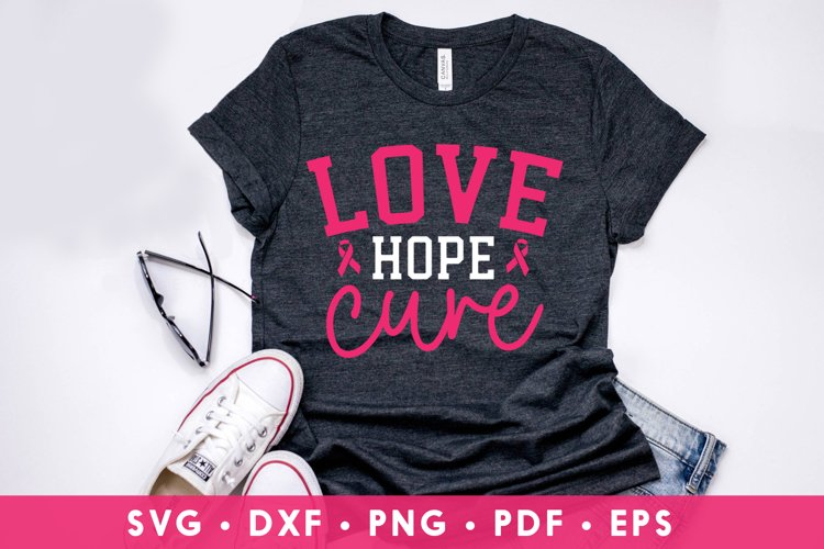 Breast Cancer SVG, Love Hope Cure, Cancer Awareness SVG example image 1