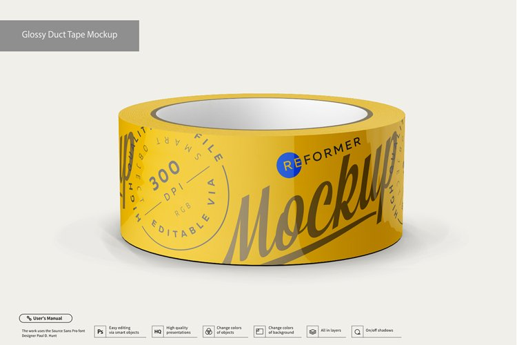 Glossy Duct Tape Mockup example image 1