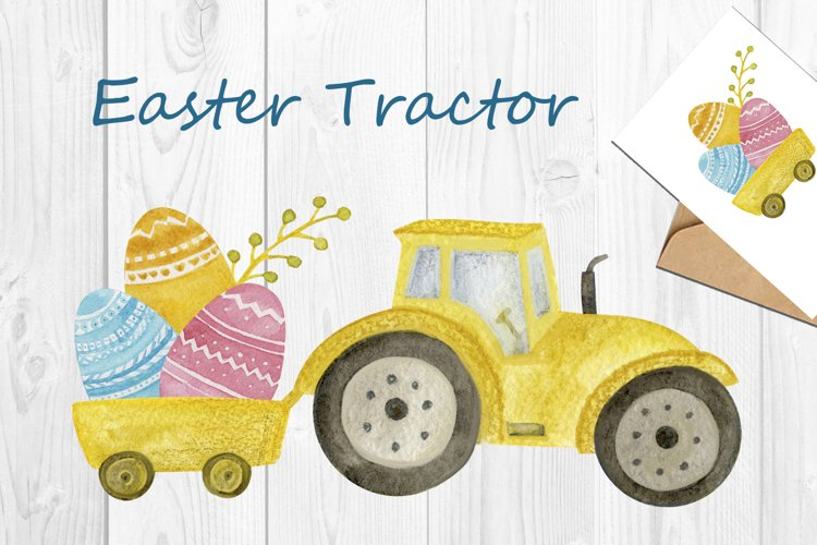 Easter Tracton png, Watercolor Clipart set, Easter art example image 1