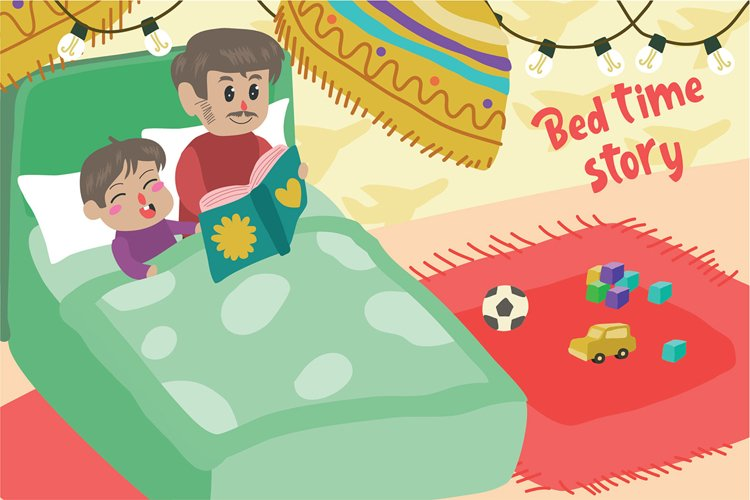 Bed Time Story - Vector Illustration example image 1