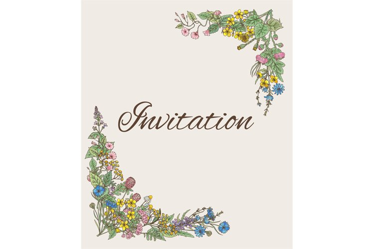 Template for invitation. Card with decoration from hand draw example image 1