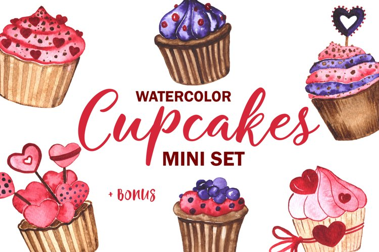 Cupcakes. Watercolor mini Set example image 1